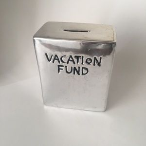Vacation Fund nickel plated piggy bank